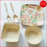 Hot Sale Natural ECO-friendly bamboo fiber dinnerware sets with bowl plate spoon fork bamboo fiber plastic tableware