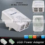 Factory OEM 4.8A Multiple 4 Port USB Wall Charger Charging Travel Power Adapter Portable Travel Charger
