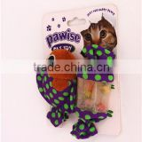 Promotional best quality fish & candy shaped cat toy treat ball with ring bell inside