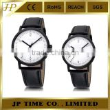 New Casual Fashion Black Leather Band Concise thin watch wristwatch men