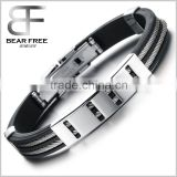Punk Mens Stainless Steel Silicone Bracelet Bangle Cuff Rope Wire Cable Wristband Color black silver