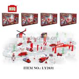 Fire fighting car parking garage toy, assemble plastic play toys