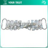 3MM Clear Cystal Rhinestone Cross Connector Rhodium Metal Belt Buckles