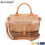 Popular brown preppy style buckle with snap button flap women crossbody bag