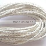 Leather Cords Braided White from India for jewellery