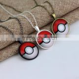 Pokemon Inspired Pendant Necklace Glass Cabochon Round Pendant accessories Silver chain necklace for Women vintage jewelry 2016