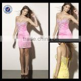 New Design Wholesale Custom Made Mini Charming Sweetheart Pink Yellow Beaded Sequined Girl With Bandage Homecoming Dress H0056