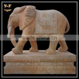 Large Carved Marble Elephant Statues