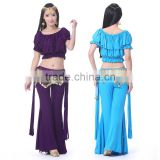 Comfortable Cotton Tribal Style Bare Midriff Waist Chain Belly Dance Practice Long Pants Suit