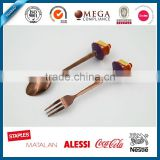 Dessert Spoon and Fork Set, Stainless Steel Flatware Set with Cute polyresin Handle, OEM craft, rose golden cutlery