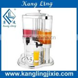 5L double Tanks PC &stainless steel transparent cooling juice dispenser