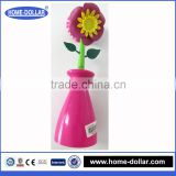 hot sell new design flower brush kitchen washing brush dish scrub cleaning brush with stand plastic holder