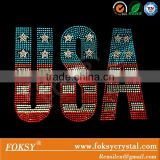 USA letter with America flag iron on rhinestone 4th of July transfer