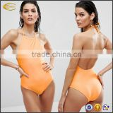 Ecoach 2017 New design women sexy Low scoop back Halter neck Brief-cut swimwear plain one pieces ladies mature swimsuit