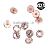G23 Solid Titanium Dermal Piercing body jewelry silver gold rose gold high quality press fit diamond jewelry