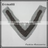 Fashion V shaped beaded mesh collar trim by hand sewing