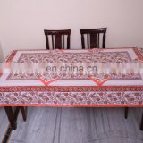 six seater Pcs table. Multi color Block print Table Cloth, Table Cover Indian Block Print dining Table cover with napkin for art