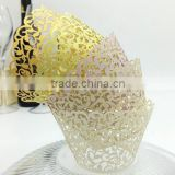Wedding Invitation Decoration Delicated Laser Cut Gold Laser Cut Cupcake Wrappers                                                                         Quality Choice