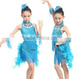 In-Stock dance costume fringed feather Latin ballroom dress for children 3colors(blue, rose, yellow)