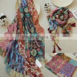 Vintage Flower Pattern Fashion Charm Women Scarf Hijab Cotton                                                                         Quality Choice