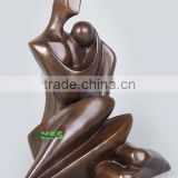 Bronze abstract mother and baby statue
