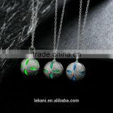 Green ball beaded necklace wholesale with glow crystal stone pendants                                                                         Quality Choice