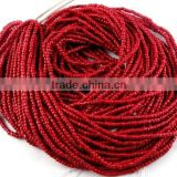 "20 Strands Red Coral Glass Seed Beads Gemstone Rondelle 2-2.5mm 12.5"" long Strand,Jewelry Making Hydro Beads"