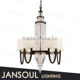 popular european style crystal pendant lighting modern black wrought iron chandelier for interior decoration