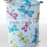 New Fashion Foldable pop up storage polyester Spring Laundry hamper, factory directly dragonfly design Luandry bags