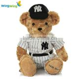 Plush toy facry stuffed material teddy bear in baseball uniform teddy bear in uniform