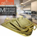 Middle East Style Ti-gold stainless steel promotion gift serving tray decorative with handles