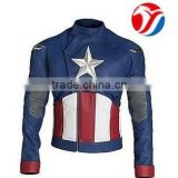 Men's America Favorite Blue Faux Leather Biker Jacket