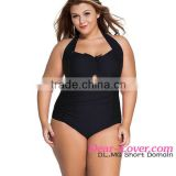 2016 India Hot Women Cheap XXX Sexy Solid Black Non Underwire Plus Size Bathing Suits