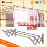 Metal Collapsible wall mounted Clothing Rack, Push-Pull clothes hanger rack, Aluminum folding laundry rack