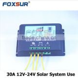 Foxsur New products top quality 30A PWM Factory Direct Sale Metal Shell 12V-24V Lithium Solar Charge Controller