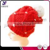 Fashion ladies winter wool felt acrylic knitted hats pom pom wholesale china (can be customized)