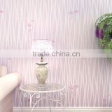 Hotel 3D Verticle Stripes Pastoralism Style Embossed Non-woven Cloth Wallpaper with Small Flowers Design