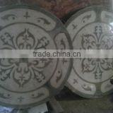 round marble tiles on the bedroom wall, waterjet antique tiles for sale, water jet marble medallion