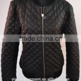 Black Men's PU Fabric Quilted Bomber Jackets