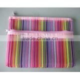 7 colour stripes nylon net double zipper makeup bag travel toiletries receive package bag transparent envelope