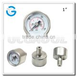 Industrial application brass body mini button pressure gauge