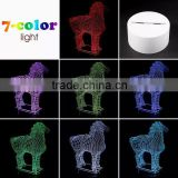 3D Optical Illusion Horse Night Lamp Night Light 10 Colorful LEDs Ultra-thin Acrylic Light Panel AA Battery or DC 5V