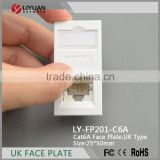 LY-FP201-C6A OEM Available Cat6a UTP/STP Network Keystone Jack for Cabling Network Faceplate China Export
