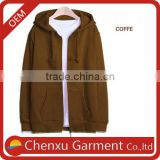 cheap athletic plain coffe color gym hoodie full zip 100% cotton men custom gym hoodie oversized men dri fit hoodie