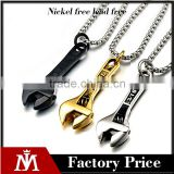 2016 Hip hop Gold Necklace Mens Silver Black Gun Plated Stainless Steel Wrench Pendants Charm Jewelry