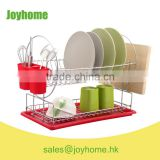 non rust iron wire 2 tier dish rack with chopping board holder