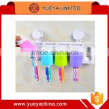 Promotional ABS PS Wall-Suction Creative 8 Toothbrush Holder 4 Cups Hanger Toothpaste Dispenser