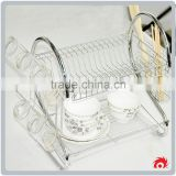 2 Tiers Cup Drying Holder Organizer Drainer Dryer Tray Cutlery Dishes rack