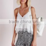 Women Solid Color Seamless Cami Plain White Lace Summer Cool One Piece Camisole with Spaghetti Straps