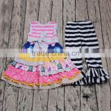 Unique design baby girls boutique outfits wholesale smock dress ruffle pants clothing set 2pcs flower kids children clothes cute